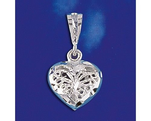 (Sterling Silver Heart Pendant Italian Filigree Love Charm Solid 925 Italy New Jewelry Making Supply Pendant Bracelet DIY Crafting by Wholesale Charms)