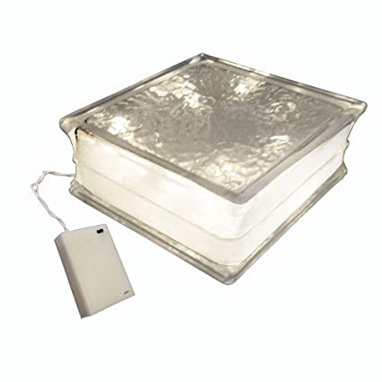 """Lighted Glass Block 8""""x 8""""x 4"""" with 4"""" White Border - Amazon.com: Lighted Glass Block 8"""