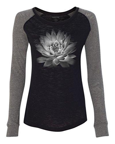 Yoga Clothing For You Ladies Lotus Flower Patch Slub Tee, Large Black/Granite
