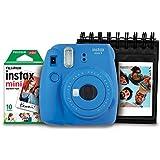 Kit Câmera Instantânea Instax Mini 9 Azul Cobalto + Filme Instax Mini 10 fotos + Porta Fotos