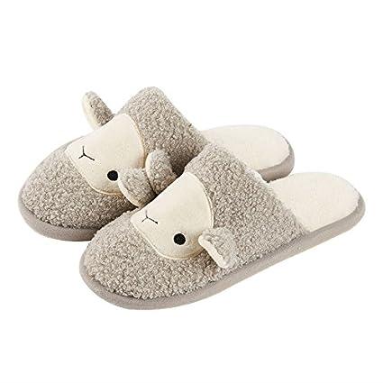 YMFIE Liebhaber innen Rutschfeste herrlich warme wasserdichte Plüsch Hausschuhe aus Baumwolle Schuhe, 36/ 37, b