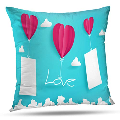 Alricc Valentine Day Artwork Three Balloons Blue Sky Love Two Mock Short Model Work Decorative Throw Pillows Cushion Cover for Bedroom Sofa Living Room 18X18 Inches