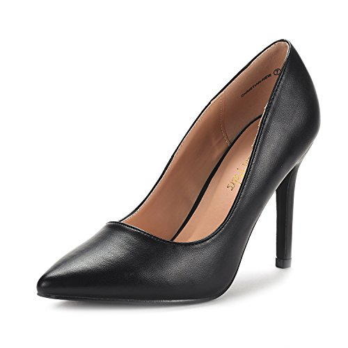 DREAM PAIRS Women's Christian-New Black Pu High Heel Pump Shoes - 5 M US for $<!--$26.99-->