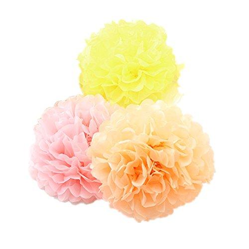9pcs Mixed 3 Sizes Pink Orange Yellow Pom Poms Flower,Derker (Pink Orange Baby Shower)