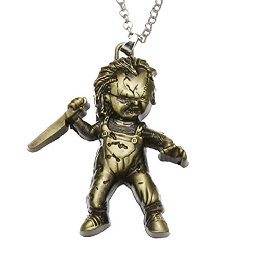 Dan's Collectibles and More Child's Play Curse of Chucky Necklace Bronze Seed Bride Halloween Horror Movie Killer Doll Pendant Necklace w/Gift Box by -