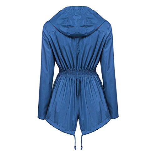 Leggero Lampo Cielo Giacchino Antipioggia Cappotto Blu Cheyuan Cerniera Cappuccio qnxtAU7g6