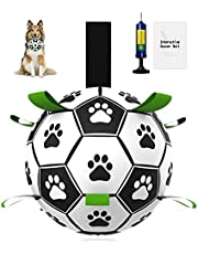Dog Ball, Pakaserily Large Dog Soccer Ball 7.5inch Interactive Dog Toy Ball Fetch Treat Ball for Medium & Big Dogs Unchewable Soccer Ball for Dogs Indoor Outdoor Tug Toy, Dog Tug Toy (25-90lbs)