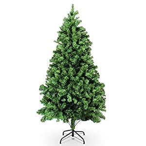 Belleze Premium Pre-Lit Fiber Optic 6', 7', 7.5' ft Artificial Christmas Tree w/Color LED Multicolor Lights and Stand, Green 55
