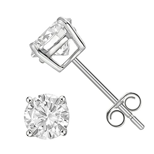 Sterling Silver Solitaire Earrings Rhodium product image