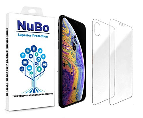 iPhone X Screen Protector Tempered Glass Front and Back [Case Friendly][Anti-Scratch] Easy to Install Premium Protective, Oil Resistant, No Bubble, Tempered Glass for iPhone X by NuBo