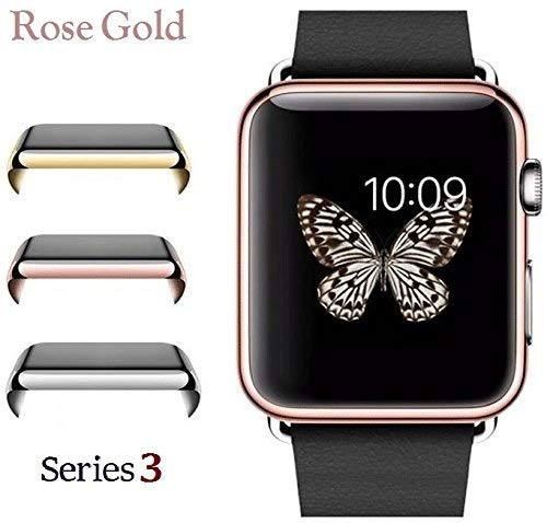 Josi Minea Apple Watch 3 [38mm] Protective Snap-On Case with Built-in Clear Screen Protector - Anti-Scratch & Shockproof Shield Guard HD Ultra Thin Cover for Apple Watch Series 3-38mm [ Rose Gold ]