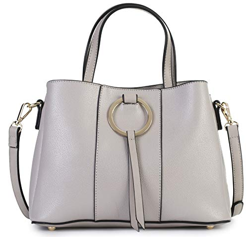 (MABEL LONDON Genuine Italian Soft Leather Medium Hobo Shopper Shoulder bag - LUMITRON [Light Grey])