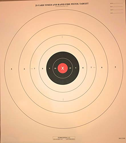DOMAGRON 25 Yard Timed Slow and Rapid Fire Pistol Target Red Center Vairaint of The Official NRA Target B-8 T (100 Pack)