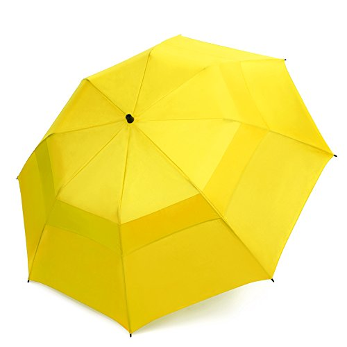 EEZ-Y Folding Golf Umbrella 58-inch Large Windproof Double Canopy - Auto Open, Sturdy and Portable (Yellow)