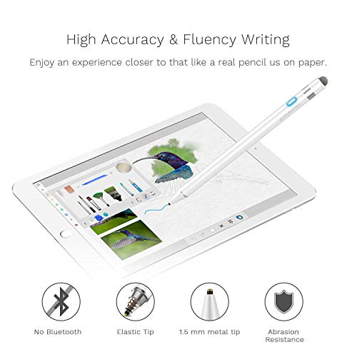 Stylus Pen Compatible for Apple iPad, Adrawpen Rechargeable Active Stylus Pen with 2 in 1 Copper & Mesh Fine Tip, 5 Mins Auto Off Smart Pencil Digital Pen for All Apple iPad/iPhone/iPad Pro-White by Adrawpen (Image #1)