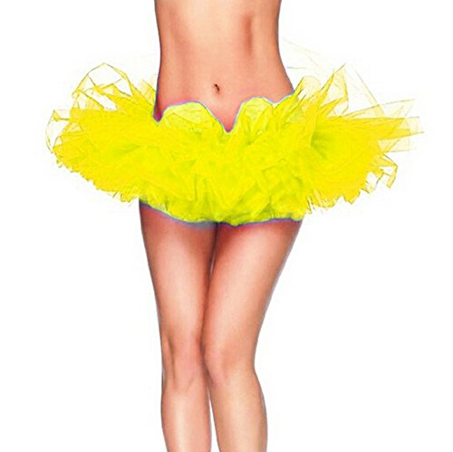 DELEY Adulte Femmes Danse Organza Tutu Dress Princess Party Mini-jupe Clubwear Jaune