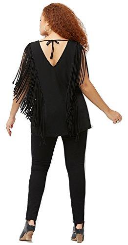 Damen Tunika im Fransen Stil, Designer Fransenbluse leichtes Material aus Lycra auch Große Größen, schicke Bluse Top V-Ausschnitt