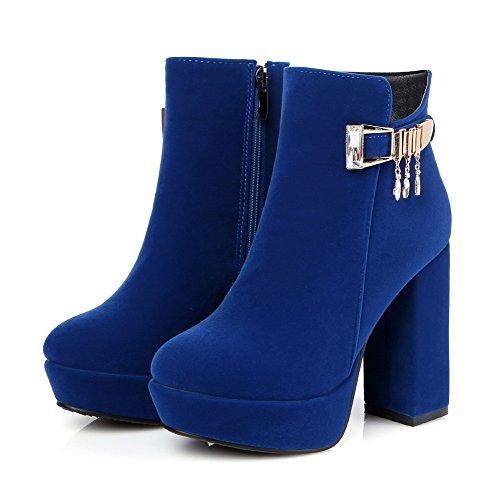 Allhqfashion Mujeres Low Top Zipper Frosted High Heels Botas Cerradas Con Punta Redonda, Azul, 31