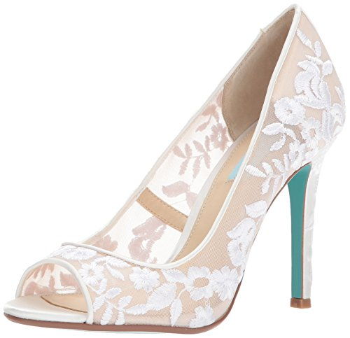 Blue by Betsey Johnson Women's SB-Adley Heeled Sandal, Ivory Fabric, 7.5 W US
