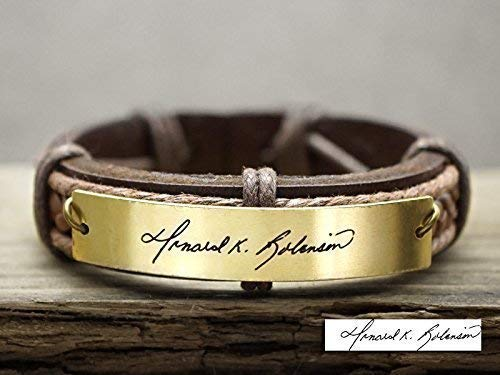 Personalized Signature Bracelet Gold, Custom Handwriting Name Engraved Memorial Jewelry Brown Leather Cuff ()