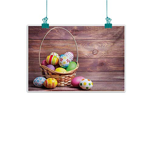Warm Family Easter Art Oil Paintings Colorful Eggs with Flowers and Polka Dots in a Weave Basket on Wooden Rustic Pattern Canvas Prints for Home Decorations 35