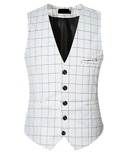 White Leisure Suit (WSPLYSPJY Men's British Style Leisure Business Suit Dress Vest Waistcoat White XL)
