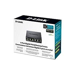 D-Link 5 Port Gigabit Unmanaged Metal Desktop Switch, Plug and play, QoS, Cable Diagnostics, Fanless design, Rugged…