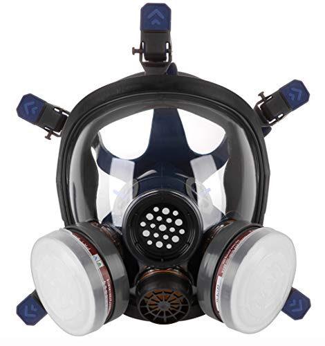Full Face Organic Vapor Respirator,Professional Respiratory Mask with Double Activated Air Filter,Widely Used in Organic Gas,Paint spary, Chemical,Woodworking,Dust Protections,etc