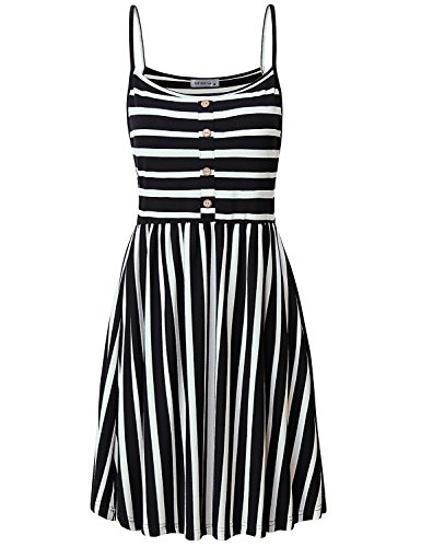MOQIVGI Casual Dresses for Women,Sleeveless Scoop Neck Above Knee Length Business Smock Dress Ladies Office Work Dressy Loose Fitting Stripe Patchwork Strappy Tshirt Dress Black White Large (Stylish Scoop Neck Sleeveless Striped Womens Sundress)