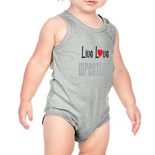 Live Love Wrestling Sport Combed Ring-Spun Cotton 3/8 Neck Band Unisex Infant Bodysuit One Piece - Heather Gray, 12 Months by Cute Rascals