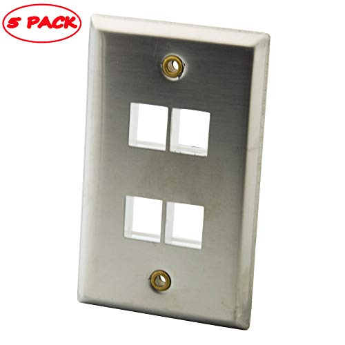 YinXiong Stainless Steel Metal Solid Style Keystone Empty Wall Plate (5 PACK, 4 Ports)