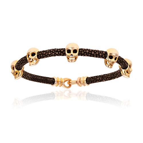 - Double Bone Multi Skull Stingray Bracelet. Genuine Leather Bangle with 18k Yellow Gold Skulls for Men and Women (Brown, 17)