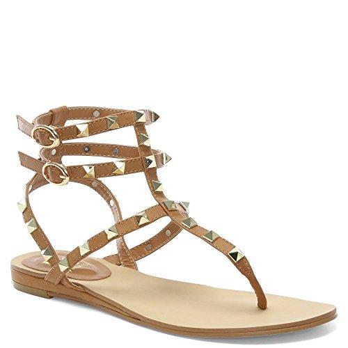 con gladiatore chiaro Daniel marrone Pelle Square Verity sandali di Di borchie ZFCgqaw0