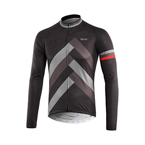 ARSUXEO Men's Printed Cycling Jersey Long Sleeves Mountain Bike Shirt MTB Top Zipper Pockets Reflective Z918 X-Large