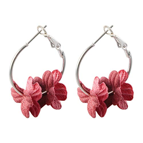 So Beautiful Earing For Women Men Fashion Fabric Flower Drop Earrings For Women 2019 Colorful Petal Circle Big Fancy Earring Jewelry,Red Small Flowers