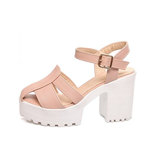 Heeled Buckle Heels Sandals AllhqFashion Open High Toe Womens Pink PU Solid pxnqxa8w