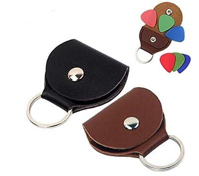 Guitar Pick holder Keychain Case,Black & Brown,Pack of 2
