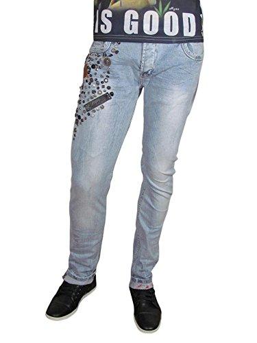 Jeans - verschiedene Nieten - blau