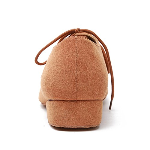 Minishion Mens Fashion Standard Blonder-up Semsket Latin Medorn Ballroom Dans Sko Lys Tan-2.5cm Hæl