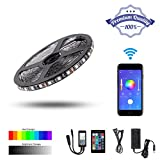 PierShine 16.4ft 5m 300leds Smart Home Alexa/Google Assistant/Nest Supported WiFi Wireless RGB LED Strip Lights with UL Listed Adapter, 24 Keys Remote Control (Black roll)