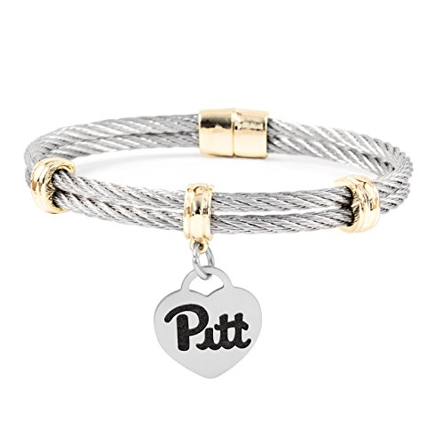 University of Pittsburgh Pitt Panthers Charm Bracelet | Stainless Steel Magnetic Clasp Bangles (Stainless Pittsburgh Steel Panthers Pitt)