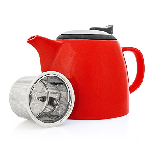 Tealyra - Drago Ceramic Small Teapot Red - 22oz (2-3 cups) - With Stainless Steel Lid and Extra-Fine Infuser for Loose Leaf Tea - BPA Lead-free - 650ml