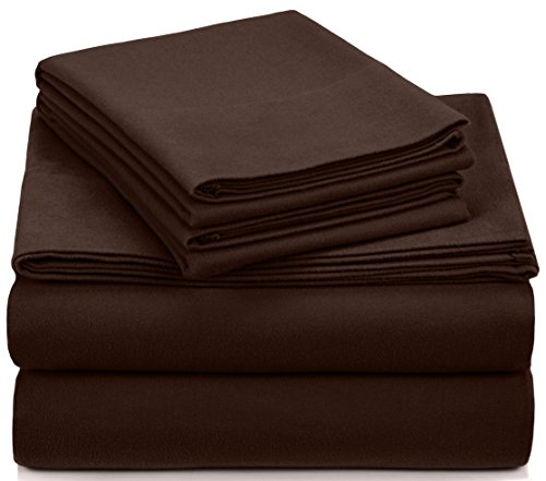 Pinzon Signature Cotton Heavyweight Velvet Flannel Sheet Set - King, Italian Roast