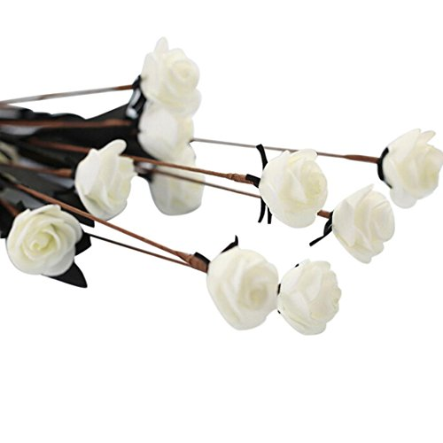 oldeagle Artificial PE Fake Flowers Rose Floral Wedding Bouquet Bridal Hydrangea Decor (White)