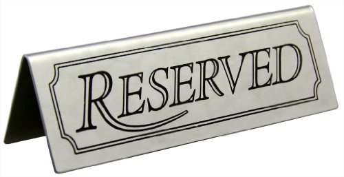 New Star Foodservice 26900 RESERVED Table Tent Sign, Stainless Steel, 4.75 x 1.5-Inch, Set of 6 by New Star Foodservice