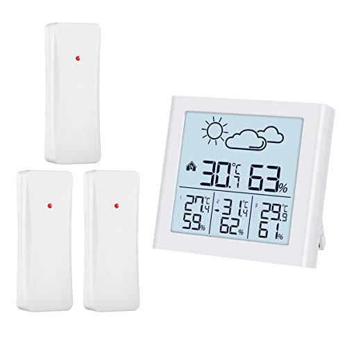 ORIA Weather Forecast Station, Indoor Outdoor Thermometer with 3 Remote Sensors, Digital Hygrometer Thermometer, Temperature Humidity Monitor with LCD Backlight, Suitable for Home, Office, Warehouse