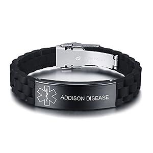 Vnox Personalizado Personalizado Alerta Médica de Acero Inoxidable Etiqueta de ID Negro de Silicona Pulsera Ajustable para Los Hombres, Grabado Gratis 22