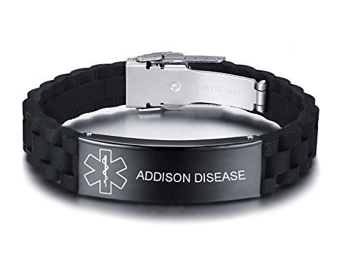 Vnox Personalizado Personalizado Alerta Médica de Acero Inoxidable Etiqueta de ID Negro de Silicona Pulsera Ajustable para Los Hombres, Grabado Gratis 1