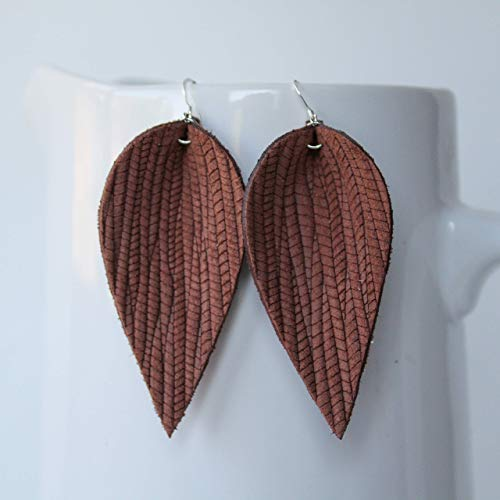 (Genuine Leather & Sterling Silver Leaf Earrings // Pecan Brown Weave Leather // Joanna Gaines Inspired // Lightweight Statement)
