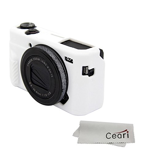 - CEARI Silicone Case Rubber Camera Protective Cover Skin for Canon PowerShot G7X Mark II Digital Camera + Microfiber Cloth - White